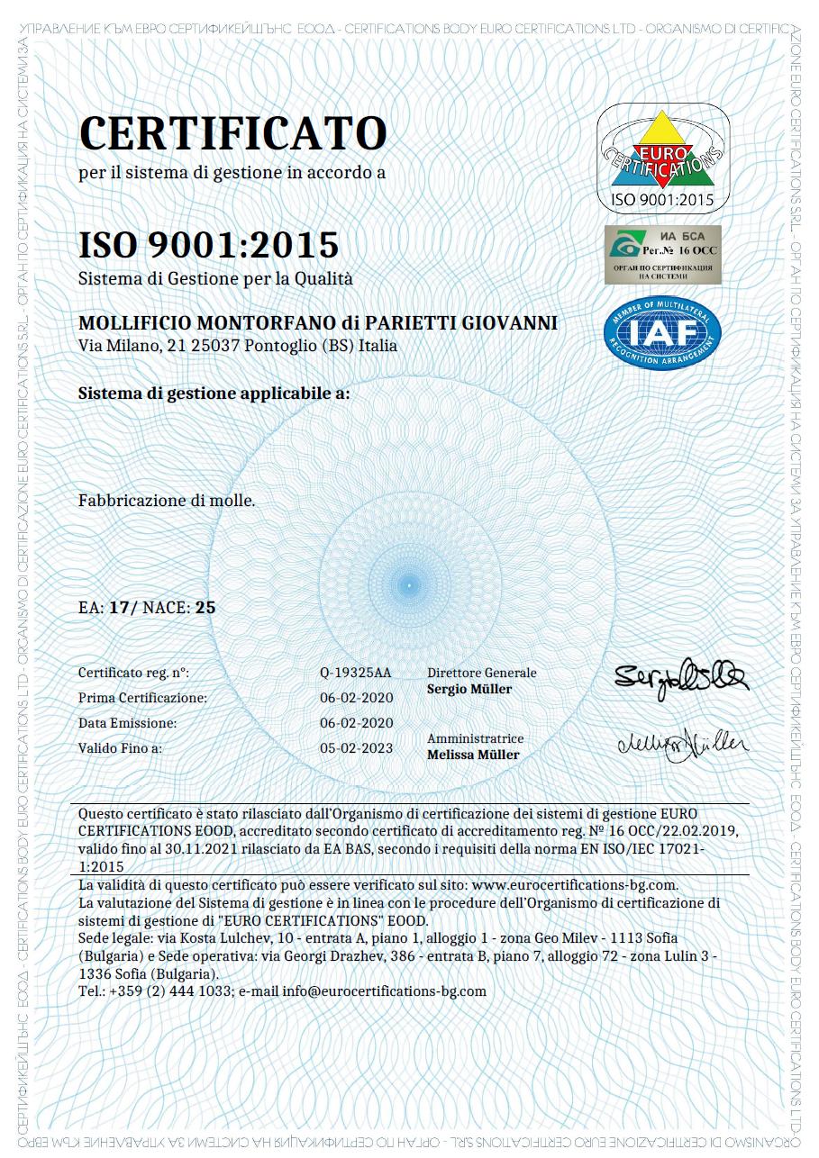 Certificate ISO 9001_2015 Italian